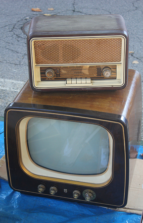 wood trade: an antique radio on an antique television