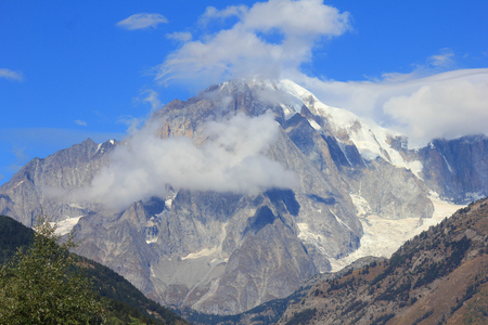 a panorama with Mont Blanc Stock Photo