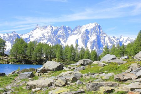 a panorama with mountain, lake and forest Standard-Bild - 127530701