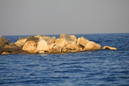 panorama of rocks on the sea in Summer Standard-Bild - 127530702
