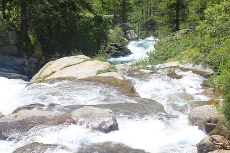a panorama of river with stones in mountain Standard-Bild - 127530768