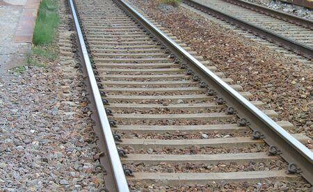 a close up of train tracks