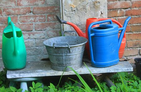 some buckets and watering cans in the garden