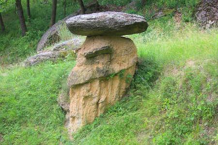 a stone mushroom in Val Maira in Italy Standard-Bild