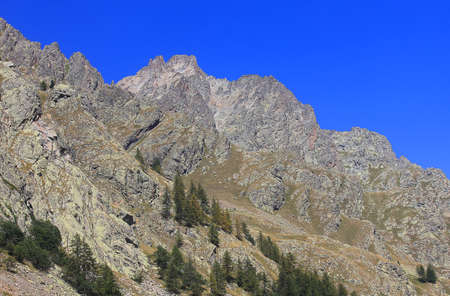 a mountain panorama with rocks and trees in Italy