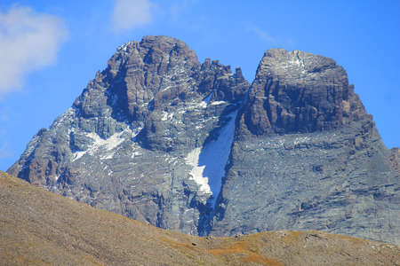 panorama with rocks with glacier in summer