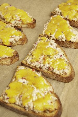 Row of tartines with melted cheese and fish, sandwiches with tuna on baking paper