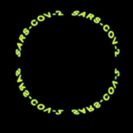 Sars-cov-2 neon sign mirroring, yellow color in circle shape, on black background