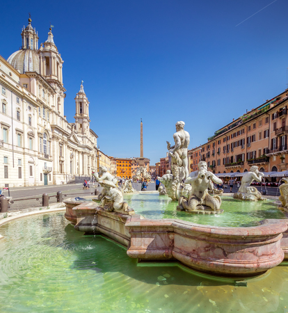 Piazza Navona, Rome, Italy, Europe. Rome ancient stadium for athletic contests, the Stadium of Domitian. Rome Navona Square is one of the best known landmarks of Italy and Europe