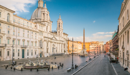 Aerial view of Navona Square in Rome, Italy. Rome architecture and landmark. Piazza Navona is one of the main attractions of Rome and Italy, it was built on the ruins of Stadium of Domitian