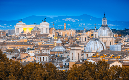 View of Rome from Castel SantAngelo at blue hour. Rome cityscape
