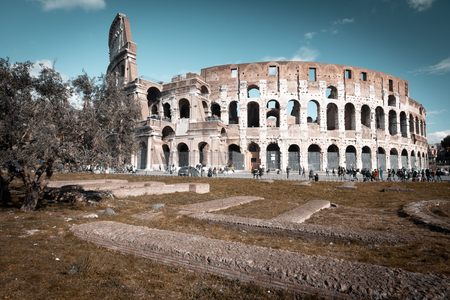 Colosseum toned in vintage style, Rome, Italy. Rome architecture and landmark. Colosseum is one of the best known monuments of Rome and Italy