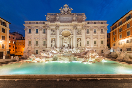 Trevi fountain at sunrise, Rome, Italy. Rome baroque architecture and landmark. Rome Trevi fountain is one of the main attractions of Rome and Italy Imagens