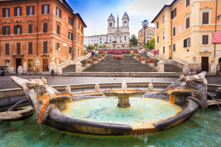 Spanish steps blurred in vintage style, Rome, Italy, Europe Imagens