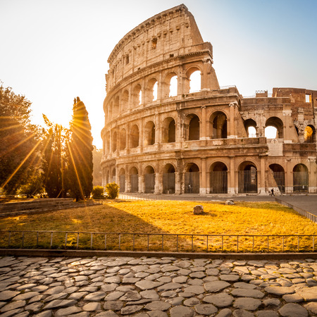 Colosseum at sunrise, Rome. Rome architecture and landmark. Rome Colosseum is one of the best known monuments of Rome and Italy Imagens