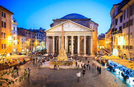 Pantheon at evening in Rome, Italy, Europe. Ancient Roman architecture masterpiece, it was the temple of all the gods. Rome Pantheon is one of the best known landmarks of Rome and Italy