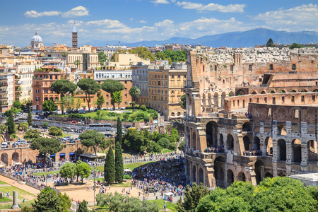 Aerial view of Colosseum square in Rome, Italy. Rome architecture and landmark. Rome Colosseum is one of the main attractions of Rome and the world.