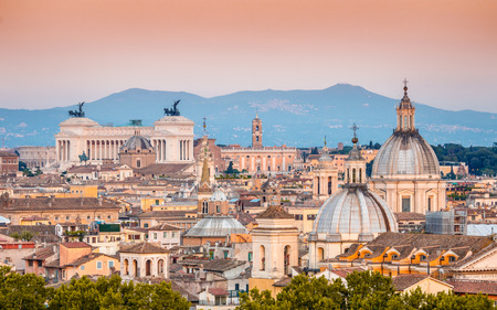 View of Rome from Holy Angel Castle at sunset in Rome, Italy, Europe
