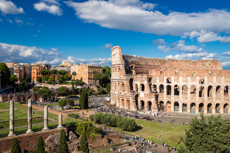 Colosseum at sunset, Rome. Rome architecture and landmark. Rome Colosseum is one of the best known monuments of Rome and Italy