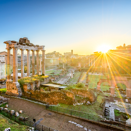 Forum in Rome, Italy. Roman Forum, Foro Romano, at sunrise.Rome architecture and landmark. Ancient Forum in Rome is one of the main attractions of Rome and Italy.