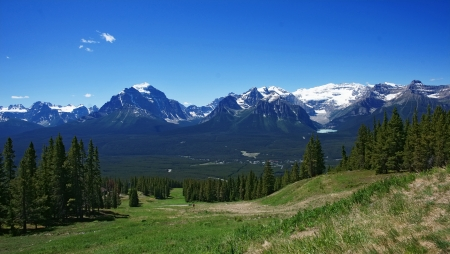 Scenic summer panoramic view of rockies mountains in banff Canada photo
