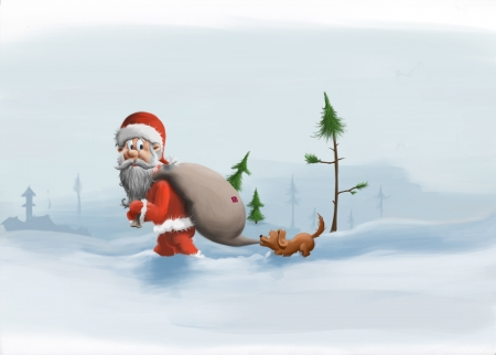 illustration for Christmas with Santa and dog