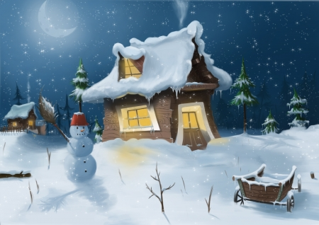 Digital illustration of wintertime and snow man
