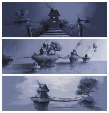3 fast scenery sketch wita a tablet Stock Photo