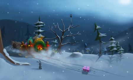 Another ilustration winth Santa in wintertime Stock Photo
