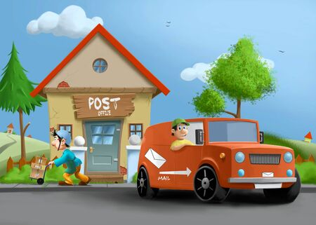 A post office illustration Stock Photo