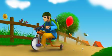 fun illustration with a tricycle