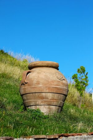 ceramic pot and green grass Stock Photo