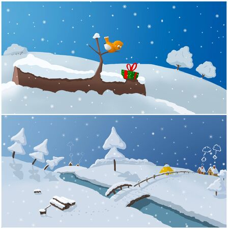 2 illustration of winter time Stock Photo