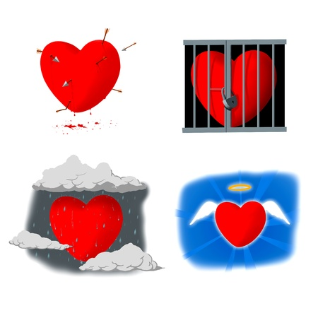 Four illustration of  heart