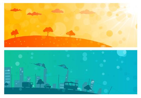 background illustration of city and nature Stock Photo