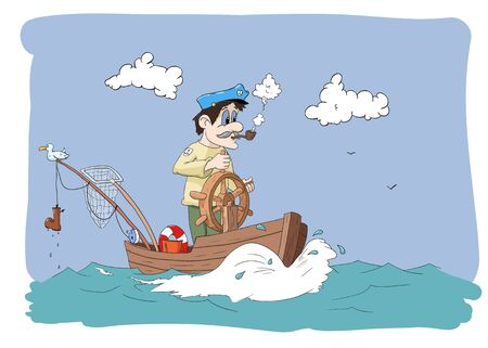 cartoon scene with a  fisherman Vector