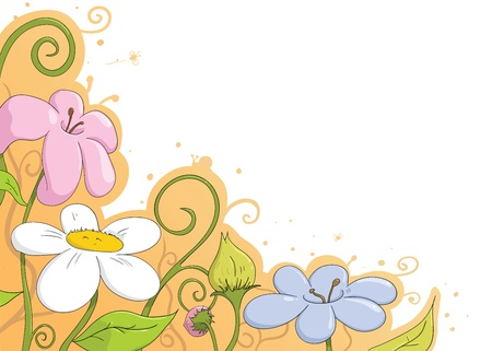stick insect: cartoon flower background