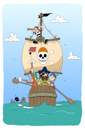 cartoon pirates in barrel