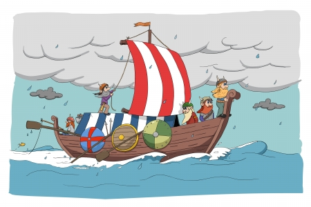 ship storm: illustration of nordic people
