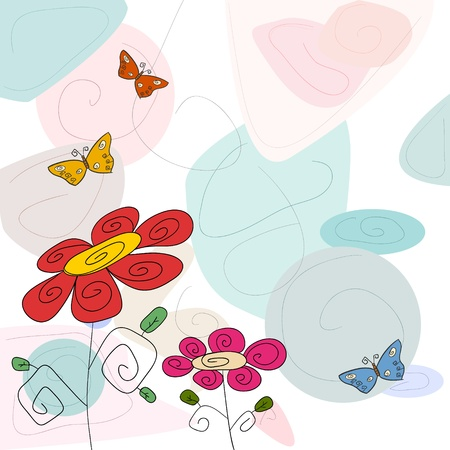 cyrcle:  Flower and butterflys Illustration