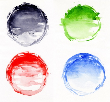 Watercolor abstract round frame