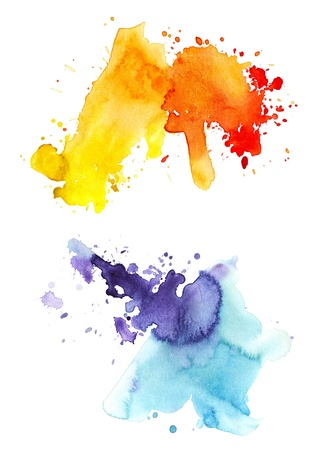 Two watercolor splashes Stock Photo