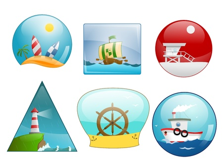 Icons of sea scene Vector