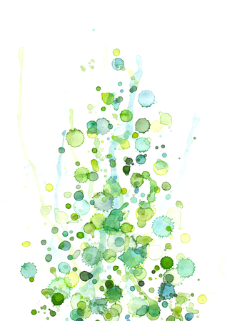 Green-blue watercolor drops Stock Photo