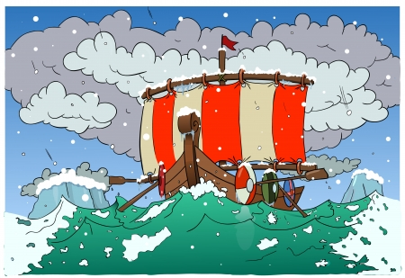 snow storm: Viking boat 2 Illustration