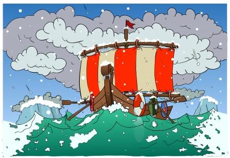ship storm: Viking boat 2 Illustration