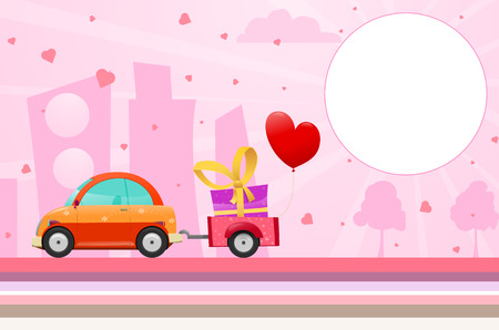 Car bring Birthday gift for girls Vector