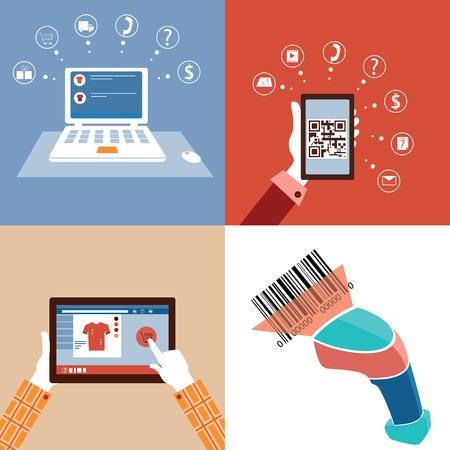 qr: Online market and qr code