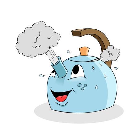 boiling water: Cartoon kettle
