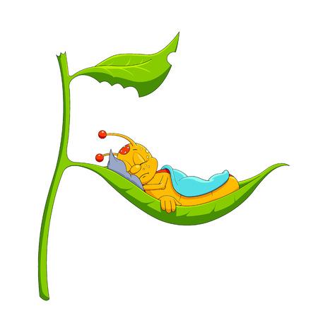 cartoon worm: Sleep time Illustration